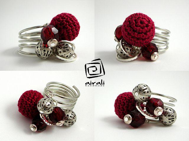 red crochet ring - anello rosso all'uncinetto by airali_gray, via Flickr