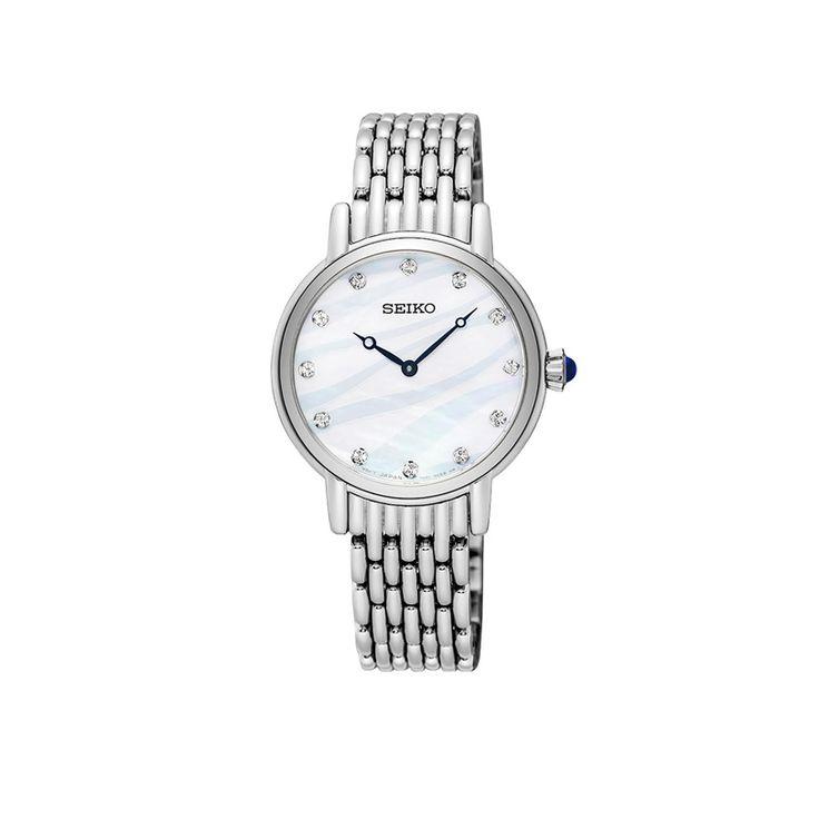 Γυναικείο ρολόι SEIKO SFQ807P1 με mother of pearl καντράν, διαφανείς πέτρες και ατσάλινο ανοξείδωτο μπρασελέ | ΤΣΑΛΔΑΡΗΣ στο Χαλάνδρι #seiko #motherofpearl #μπρασελε #tsaldaris