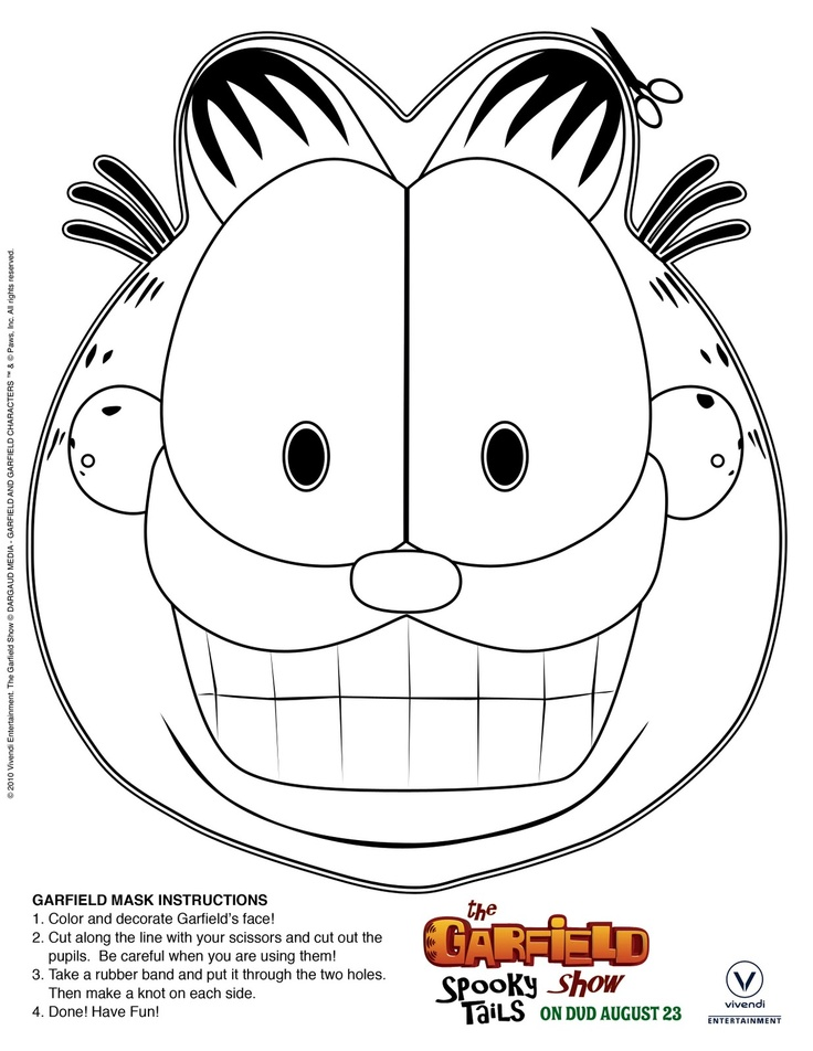 free printable print color garfield mask - Garfield Halloween Coloring Pages