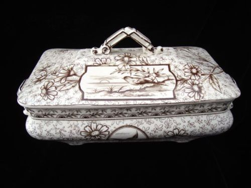 Staffordshire-Brown-Transferware-Victorian-Tureen-DEVONSHIRE-1885
