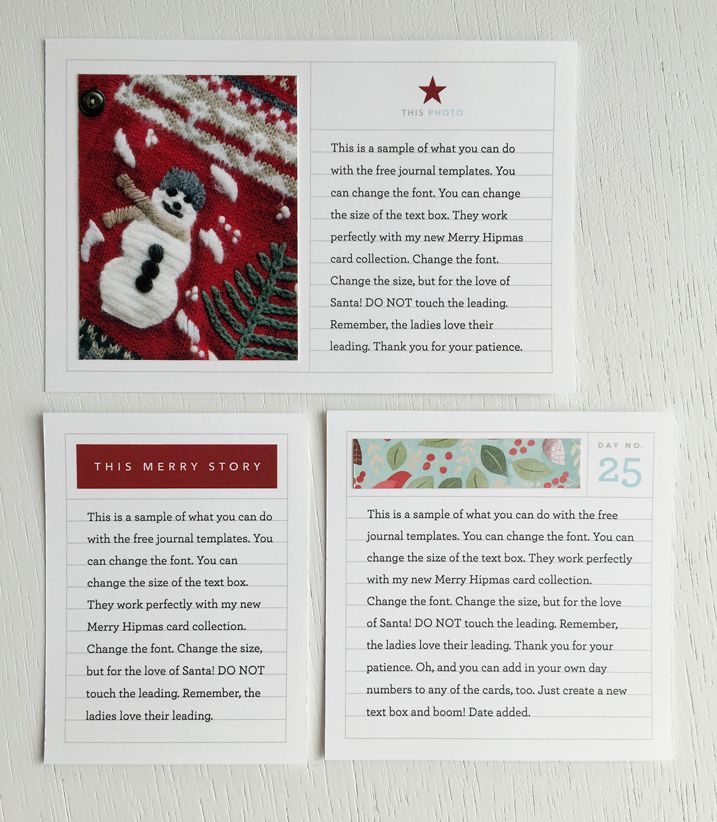 A free journal card template package for your upcoming holiday projects cathyzielske.com