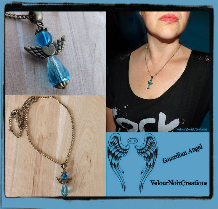 Bronze necklace with pendant guardian angel blue, by Velours Noir Crèations, 14,00 € su misshobby.com