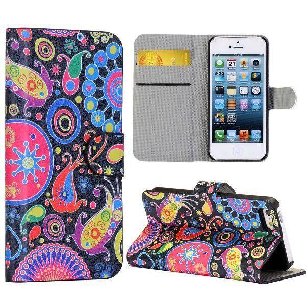 Kleurrijke figuurtjes booktype hoesje iPhone 5C