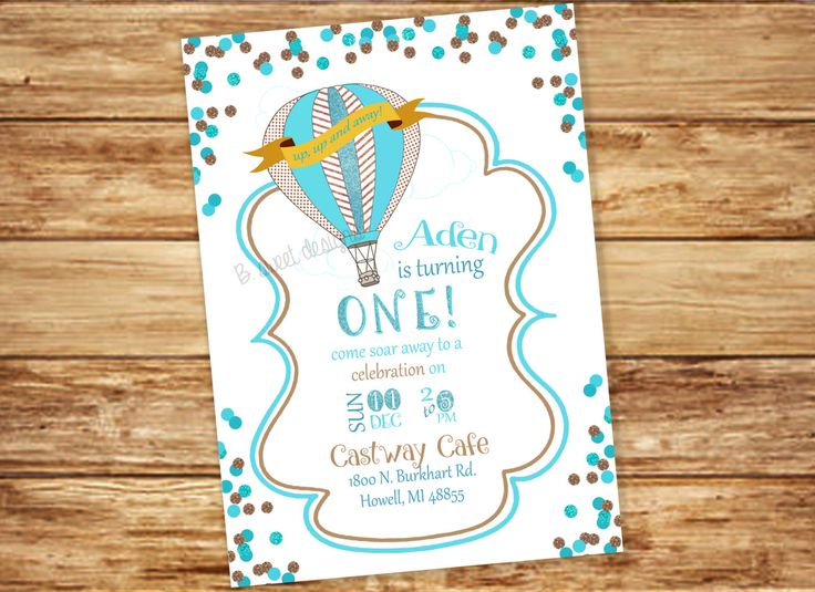 Polka Dots and Glitter Hot Air Ballon Invitation - Up, Up and Away! Birthday - Turquoise & Brown Party - DIY Invite by BSweetbyKB on Etsy