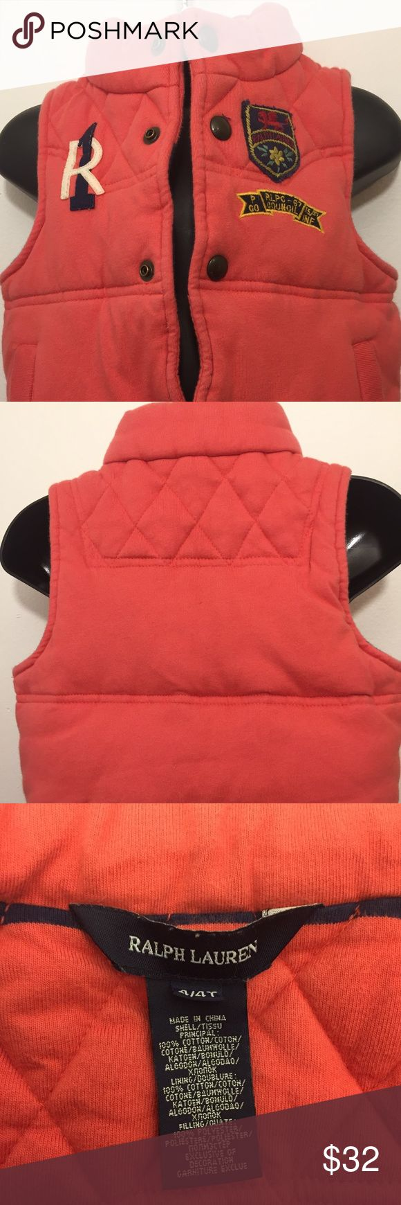 "Ralph Lauren Polo Girls 4T Orange Puffer Vest Ralph Lauren Polo Girls 4T Orange Puffer Vest  Great Pre-owned condition. 100% Cotton  Medium Weight Quilted style with Stitched Patches.  Beautiful Ralph Lauren embossed  buttons. 16"" long from collar to hem 13"" across the bottom  030318/TRS/101/G Ralph Lauren Polo Jackets & Coats Puffers"