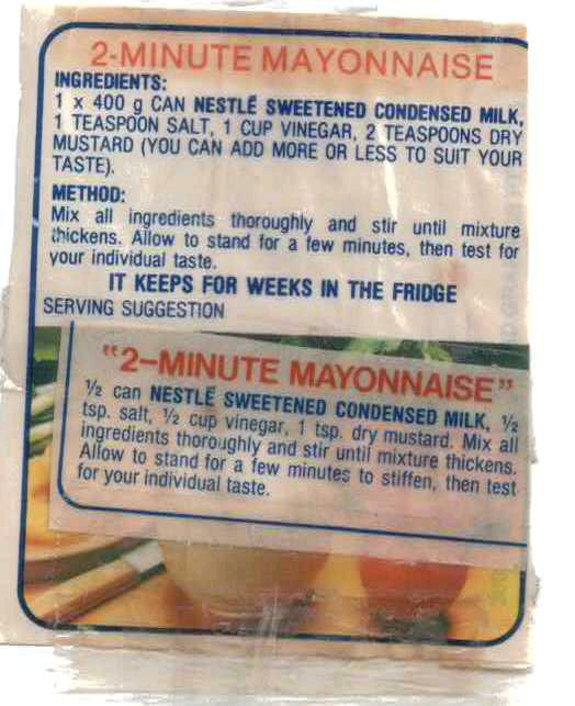 Old Fashioned Mayonnaise Recipe Condensed Milk
