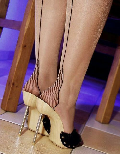 """Amazing """"Heels"""" in hose and Mules."""