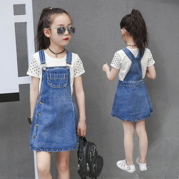 17.50$  Buy now - http://alioi9.shopchina.info/1/go.php?t=32810053847 - New Arrival Girls Cotton Strap Dresses Fashion 2017 Summer Kids Jeans Button Suspender Clothing Denim Dress for Children  #buyonlinewebsite