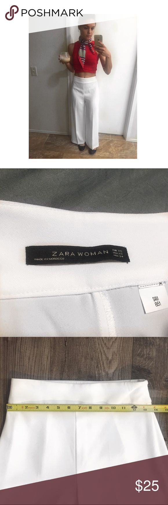Zara women white trouser Zara women white trouser. High wasted. Wide leg. Zipper on side. Lightly used. Zara Pants Trousers