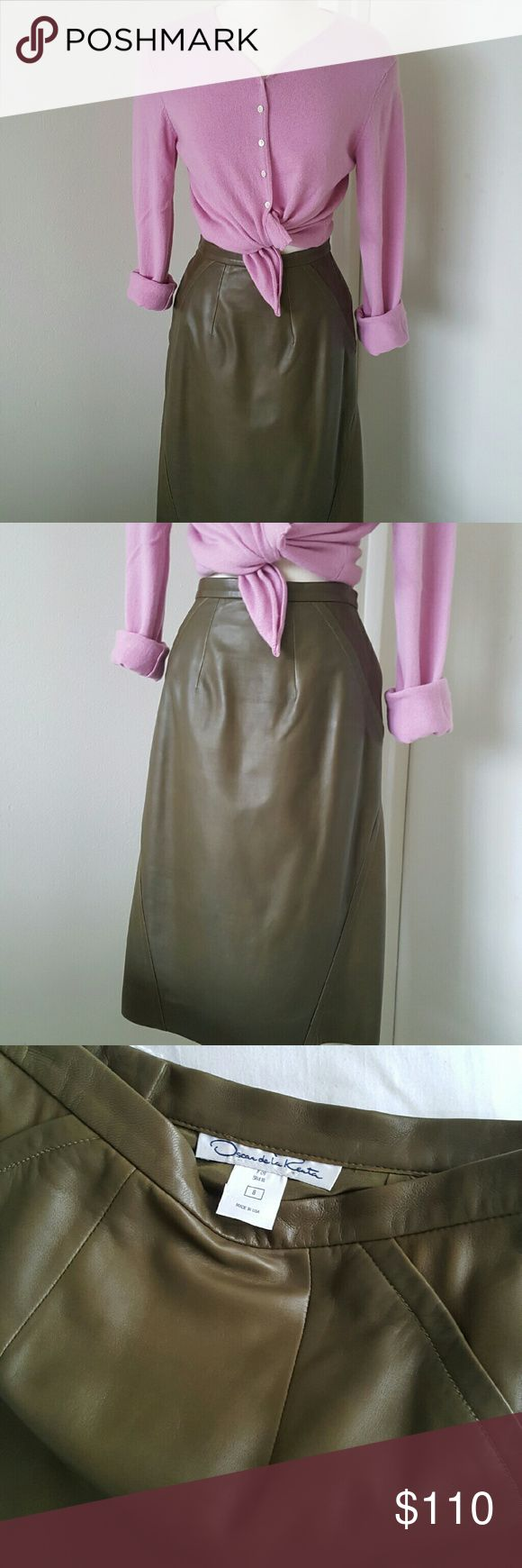 """Oscar de La Renta Green Olive Leather Skirt Authentic skirt from Oscar de La Renta, very soft genuine leather almost like the second skin. Green olive color, going well with many outfits,  boots and sweater,  since I purchased from another posher l didn't were.  Like new,  excellent condition,  fully lined, zippered on the side of the back.  Measurements are length 24"""" waist 30"""" hips 40"""" Oscar de la Renta Skirts"""