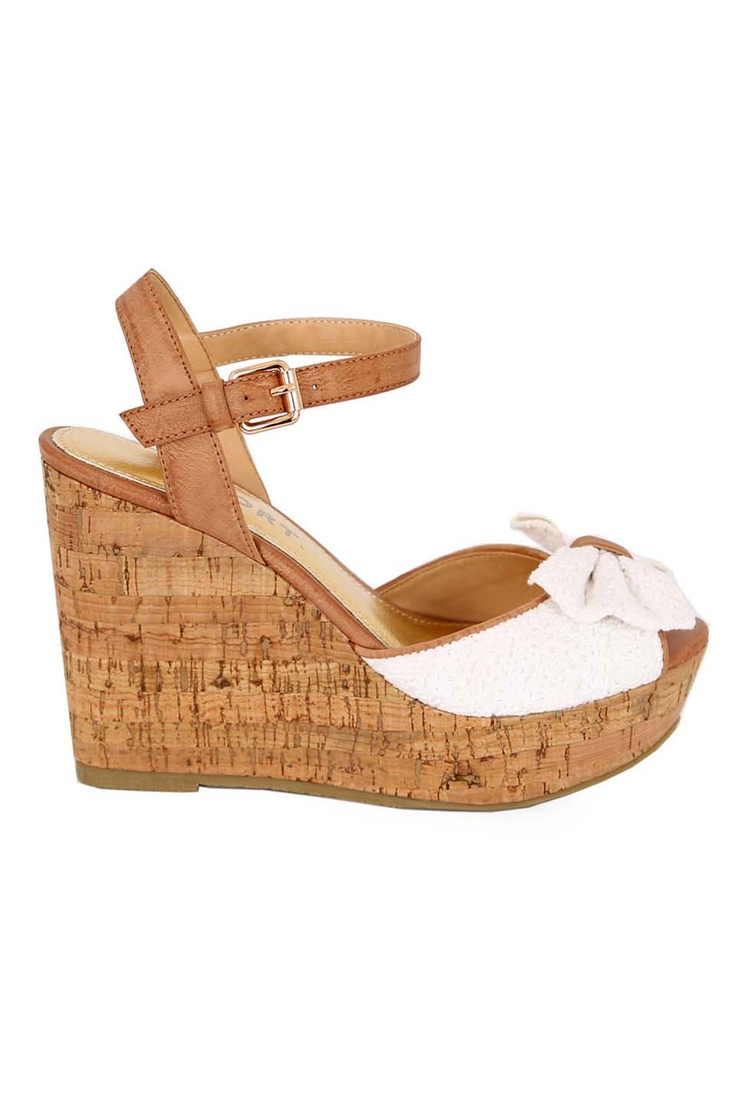 Report Tahlia Wedged Sandal in White - Beyond the Rack