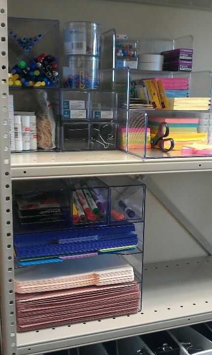 Office organization - stacking trays to store extra file folders and papers