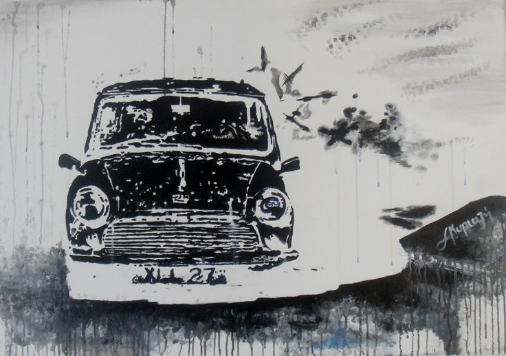 old Greek movie black and white black classic mini cooper