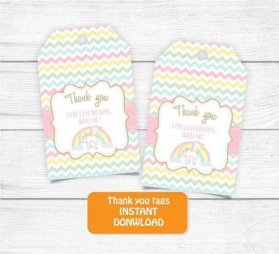 Printable Unicorn Thank you Tag Gold Rainbow Unicorn Thank