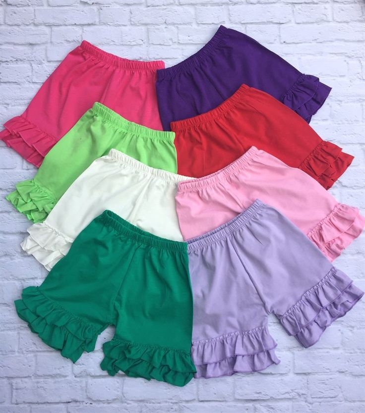 Ultra Soft Double Ruffle Shorties!! Perfect for Spring and Summer, these will be her favorite go to for any outfit! 12 Spring and Summer colors!!