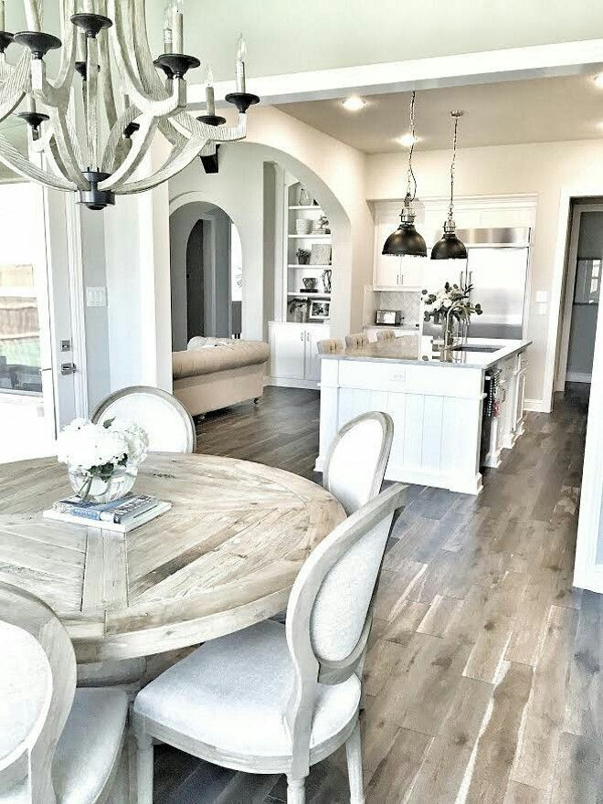 i love the layout of this room want it with dark wood floors and - Cream Kitchen Tables