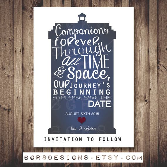 Doctor Who TARDIS Save The Date PRINTABLE DIY by TotallyInvited, $13.00