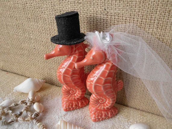 End of Summer Sale Beautiful Adorable Coral and White Tropical Kissing Seahorse Ceramic Wedding Cake Toppers Beach Sea Hawaii Destination W
