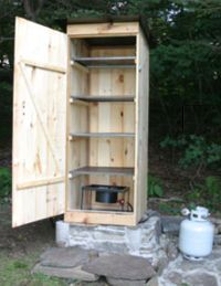Building a smokehouse | Living the Country Life. Replace the propane tank with a hot plate and we're in business