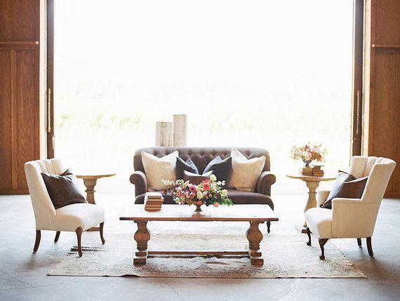 Neutral Lounge Vignette | Found Vintage Rentals #couch #armchair #furniture  #rentals #