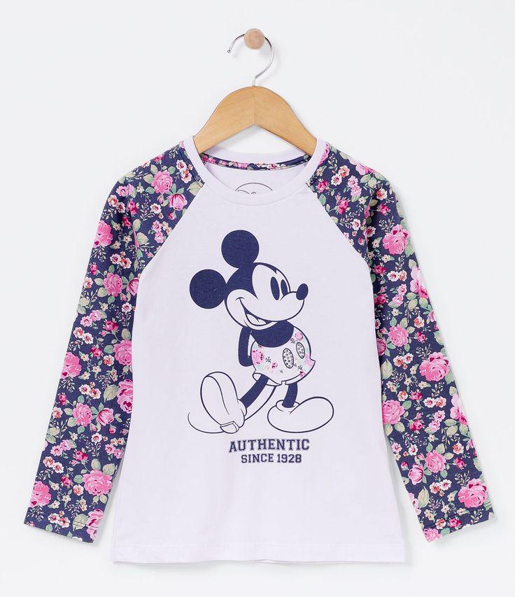 Blusa infantil    Manga longa    Gola redonda    Com estampa    Mangas florais    Marca: Mickey    Tecido: meia malha    Composição: 100% algodão                 COLEÇÃO INVERNO 2016             Veja outras opções de    produtos Mickey.