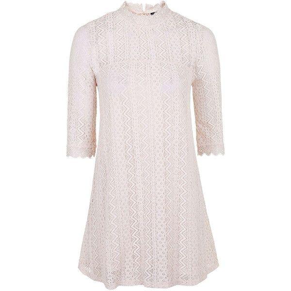 TOPSHOP PETITE Lace Swing Dress ($58) via Polyvore featuring dresses, nude, petite, high neck dress, overlay dress, pink lace dress, lace overlay dress and nude dress
