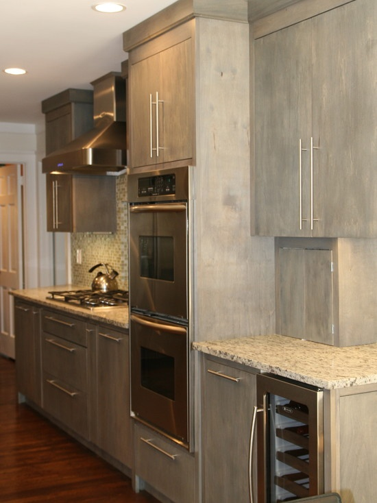 Grey opaque stained wood cabinets kitchen