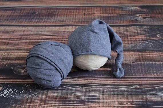 2 pieces set: stretch baby wrap stocking hat Newborn photo
