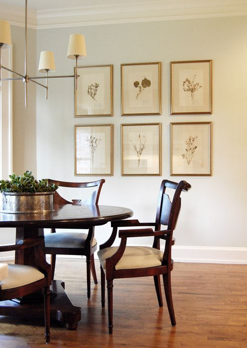 love framed botanicals and light fixture--could see a wall like this in mom's dining room