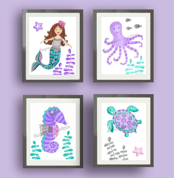Mermaid bathroom kids art, girls bathroom art, teal purple pink nursery art, mermaid bedding art prints