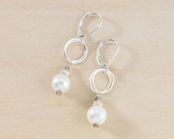 Dainty silver chandelier earrings with tiny freshwater pearls