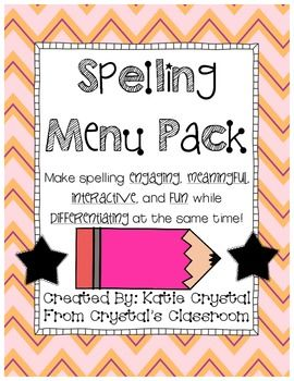 This spelling menu pack was designed to make spelling practice, homework, and/or word work in the classroom engaging, interactive, meaningful, and fun as well as to provide a means in which to differentiate!
