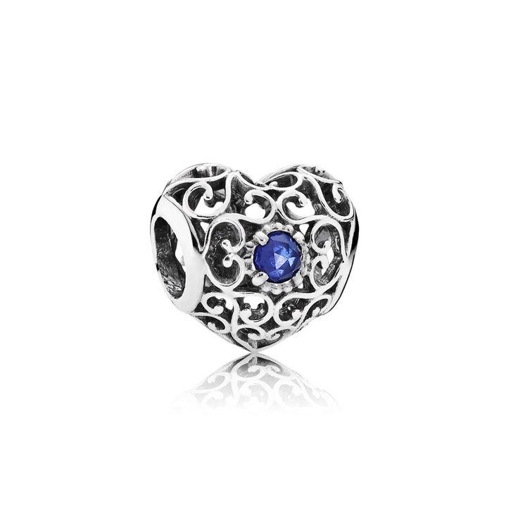 NEW: PANDORA September Signature Heart Birthstone Charm 791784SSA | birthstones | Pandora charms | John Greed Jewellery