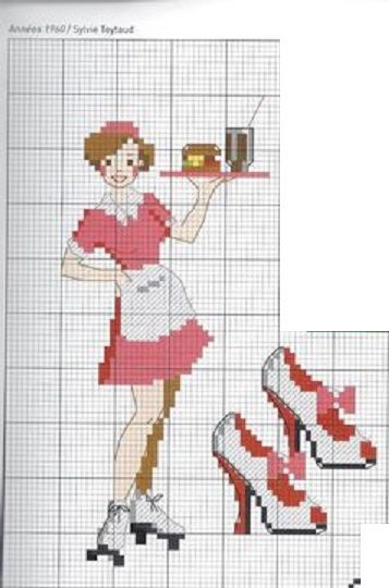 point de croix serveuse rollers - cross stitch rollers skate waitress