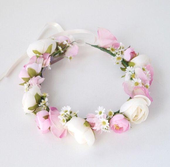 Coroa de Flores Pink e Margaridas