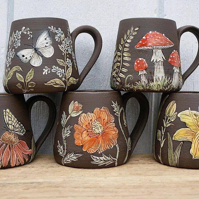 Incredible painted floral and mushroom mugs!