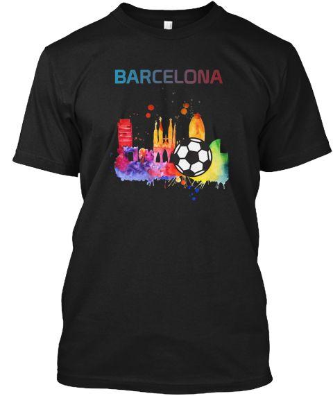 Barcelona Spain T Shirt Soccer Ball Black T-Shirt Front