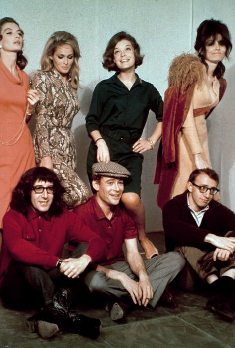 Paula Prentiss, Romy Schneider, Ursula Andress, Capucine, Woody Allen, Peter O'Toole and Peter Sellers from What's New Pussycat (1965)