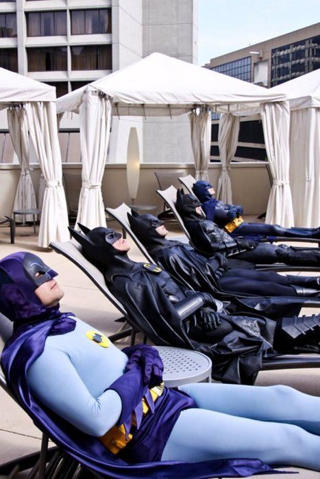 Sunbathing Batmen! - News - GeekTyrant: Stuff, Comic, Funny, Superheroes, Batman, Things, Dark Knight