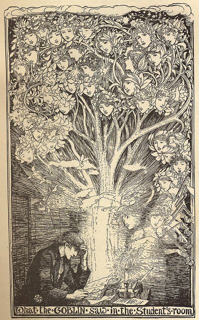 """LOVE this illustration! What The Goblin Saw In The Student's Room by H. J. Ford (Henry Justice Ford, British) in 1901 in The Pink Fairy Book, illustration for """"The Goblin and the Grocer"""""""
