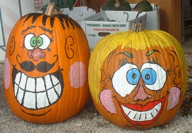 Pumpkins painted funny faces holidays pinterest Funny pumpkin painting ideas