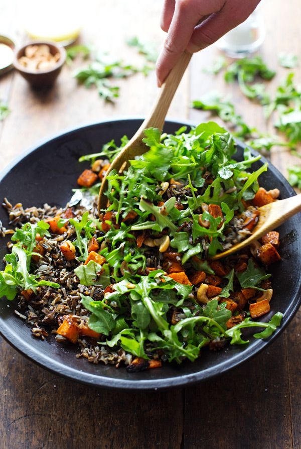 Roasted Sweet Potato, Wild Rice, and Arugula Salad: served with a simple lemon and olive oil dressing. I licked the plate clean. 300 calories. | pinchofyum.com
