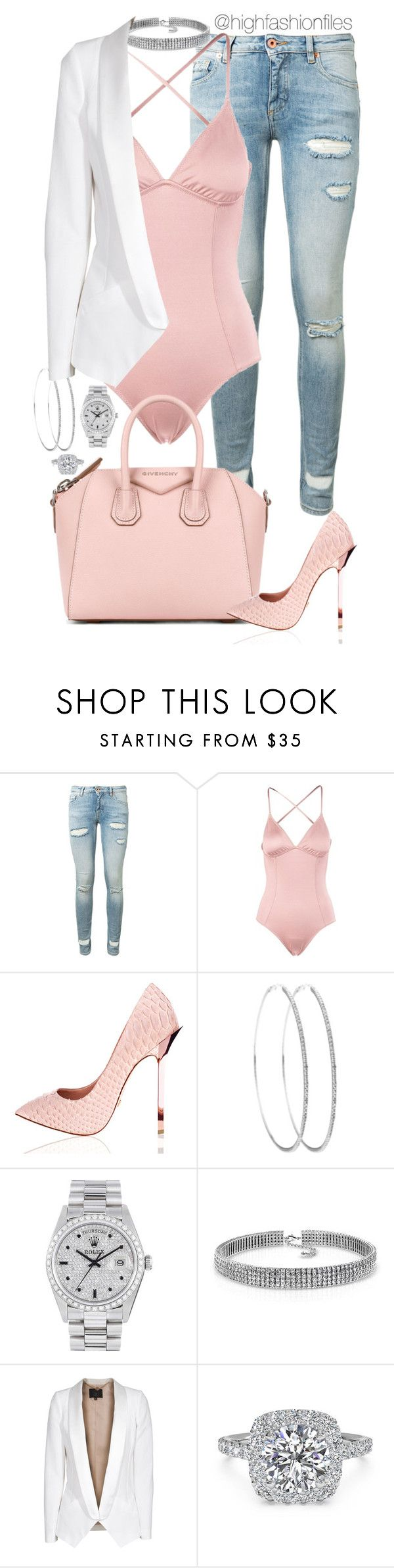 """""""Spoiled"""" by highfashionfiles ❤ liked on Polyvore featuring Off-White, Eberjey, Givenchy, Rolex, Bling Jewelry, SLY 010 and Ritani"""
