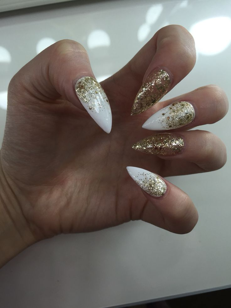 white and gold glitter ombre stiletto nails nails