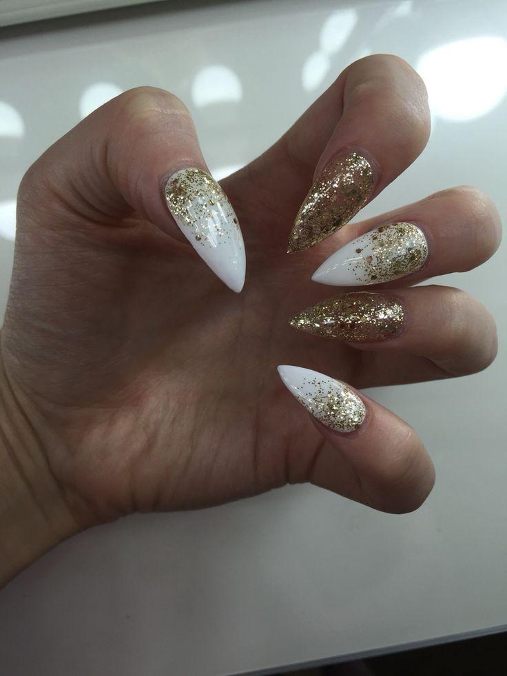 White and gold glitter ombre stiletto nails