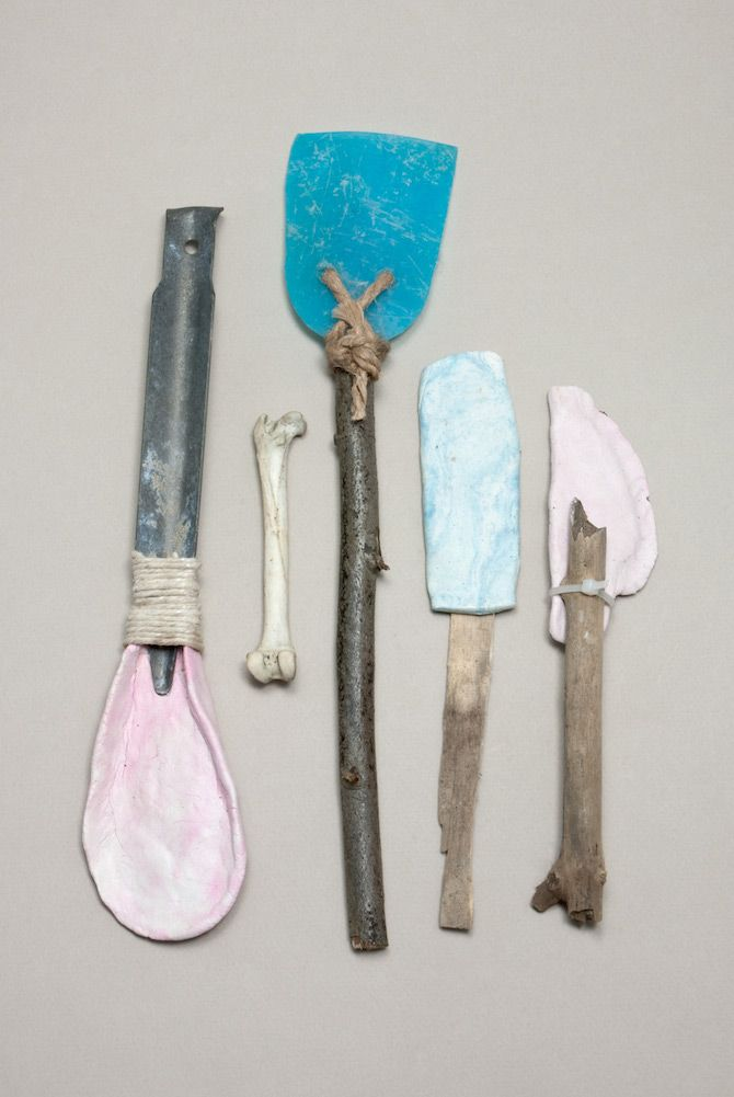 Improvised tools made from flotsam, sticks and stones