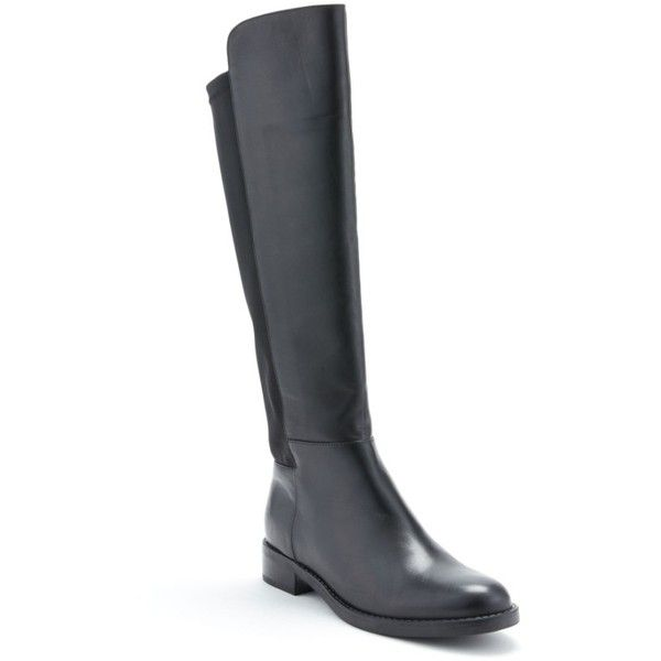Women's Blondo Ellie Waterproof Knee High Riding Boot ($150) ❤ liked on Polyvore featuring shoes, boots, black leather, waterproof boots, black waterproof boots, stretchy knee high boots, black riding boots and black knee high boots