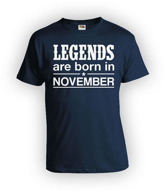 November Birthday T-Shirt - Personalize T-Shirt with Month of Birth!  >> IF YOUD LIKE TO CUSTOMIZE THE MONTH, PLEASE LEAVE A NOTE AT CHECKOUT <<  Thanks for stopping by BirthdayGoodiesShop. I sell apparel to celebrate life's greatest moments. My products are completely customizable. Whether you're looking for a different year, age or print color, I am happy to personalize your order at no additional charge.  BE SURE TO include any personalization notes (ie, dates, age, names) at c...