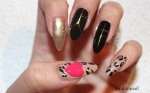 """Products I used: """"Same Seine But Different"""" (Nr. 070) by Catrice  Nr. 79240- 711 by LCN (gold)  """"black"""" by L.A. Colors, Art Deco  """"Status Symbol"""" (Nr. 26) by Essie (pink)  Nr. 677 by Maybelline New York (black)  Base and top coat"""