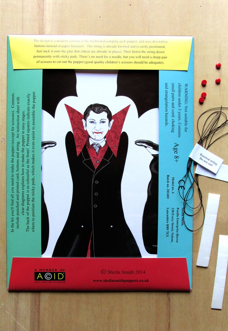 The back of the vampire pack, with contents. Most of the pack is recyclable - the windows are made from A4 acetate, which can be used for craft projects.